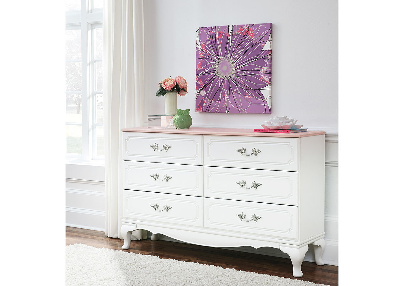 Laddi White/Pink Dresser,Signature Design By Ashley