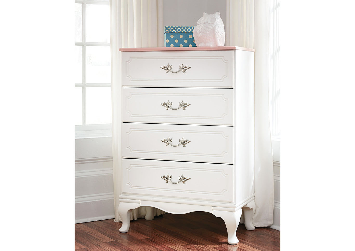 Laddi White/Pink Four Drawer Chest,Signature Design By Ashley