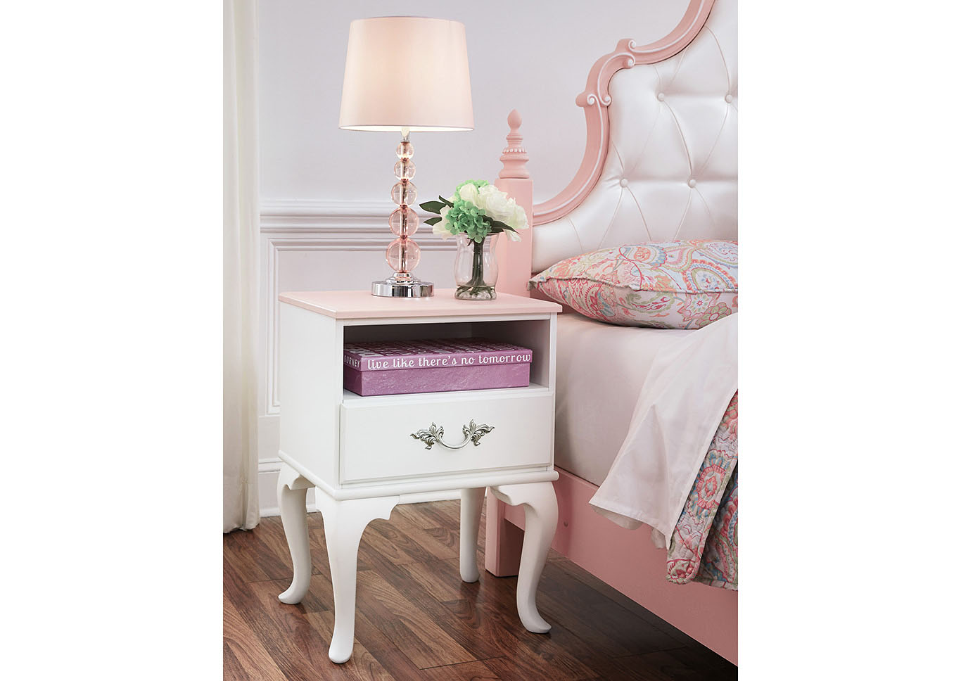 Laddi White/Pink One Drawer Night Stand,Signature Design By Ashley