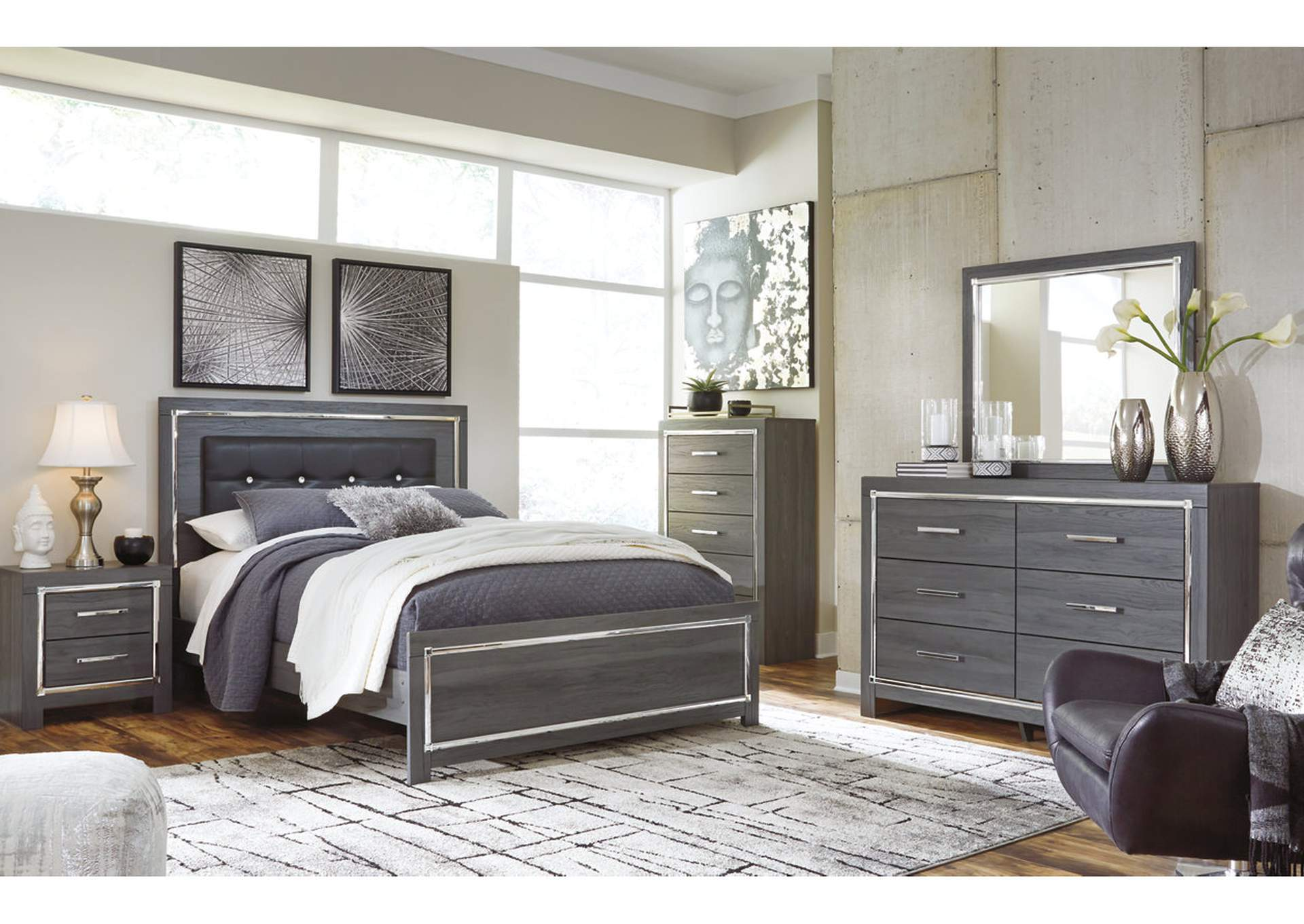 Lodanna Gray King Panel Bed w/Dresser & Mirror,Signature Design By Ashley