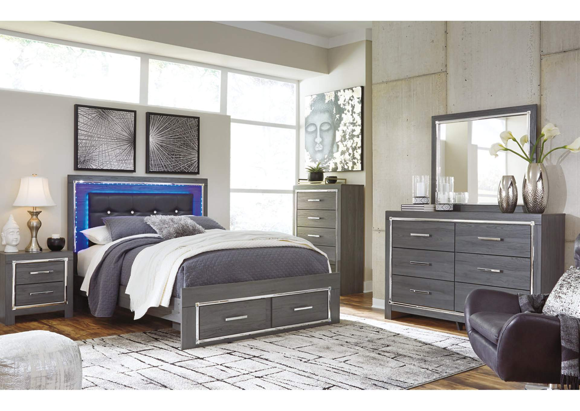 Lodanna Gray Queen Storage Bed w/Dresser & Mirror,Signature Design By Ashley