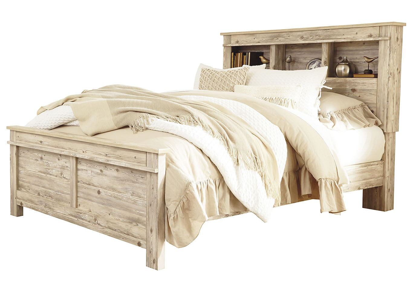 Willabry Weathered Beige Bookcase Headboard Queen Panel Bed,Signature Design By Ashley