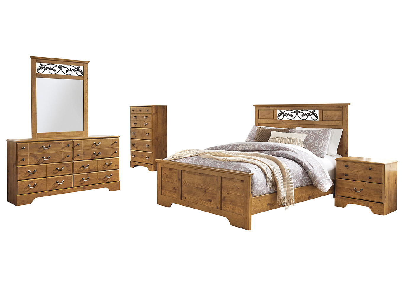 Bittersweet Light Brown Queen Panel Bed w/Dresser & Mirror,Signature Design By Ashley