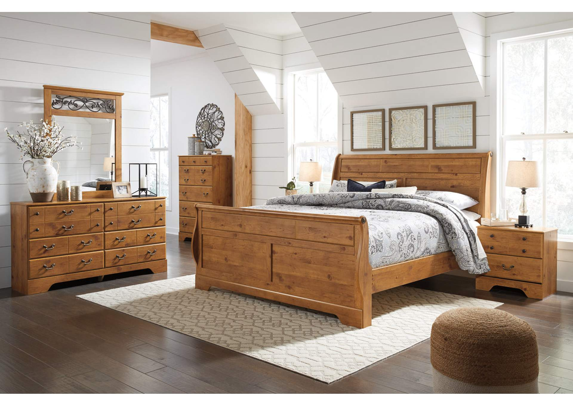 Bittersweet Light Brown King Sleigh Bed w/Dresser & Mirror,Signature Design By Ashley