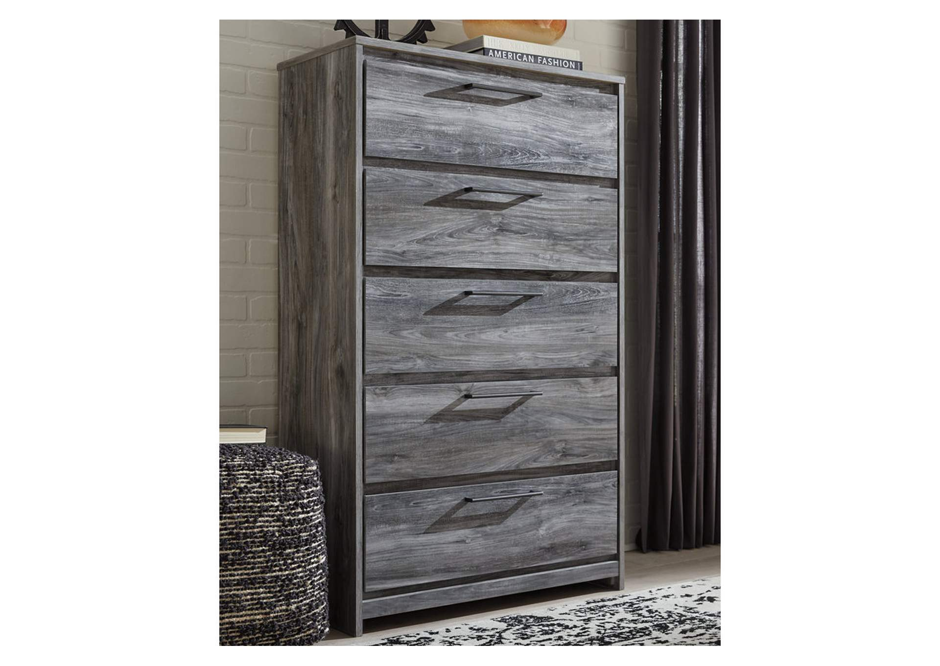 Baystorm Gray Five Drawer Chest,Signature Design By Ashley