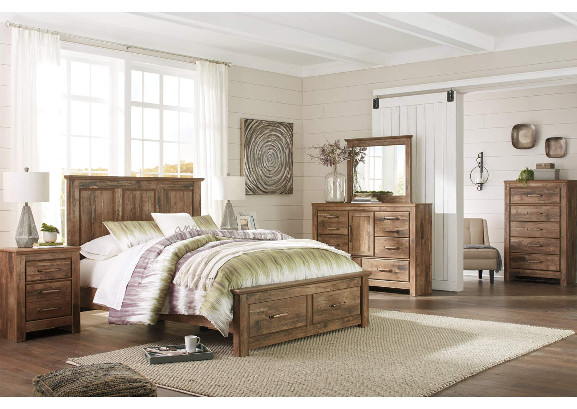 Blaneville Brown Queen Storage Platform Bed w/Dresser, Mirror, Drawer Chest & Nightstand,Signature Design By Ashley
