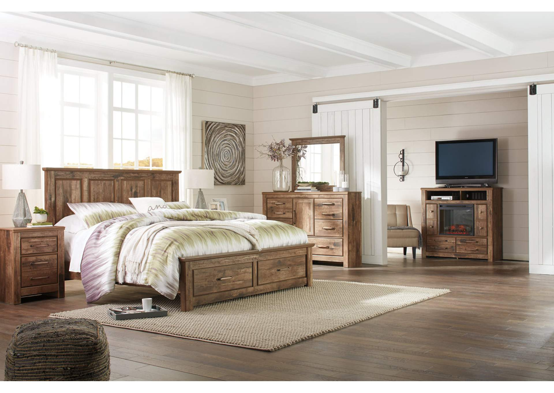 Blaneville Brown King Storage Platform Bed w/Dresser, Mirror, Drawer Chest & Nightstand,Signature Design By Ashley