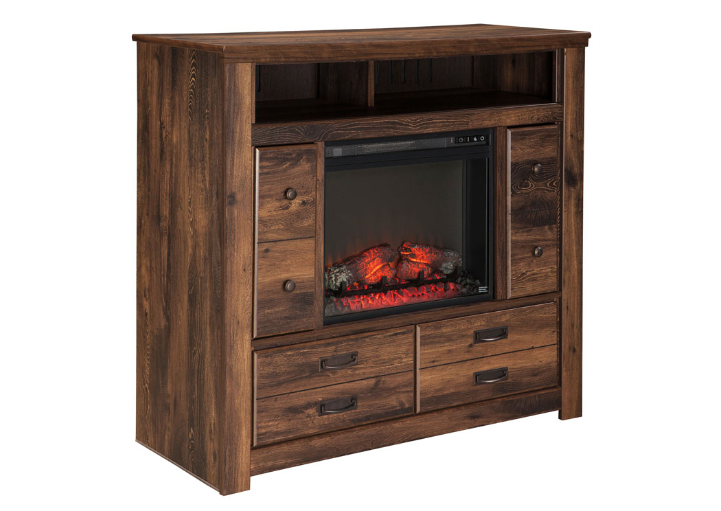 Quinden Media Chest w/ LED Fireplace Insert,Signature Design By Ashley