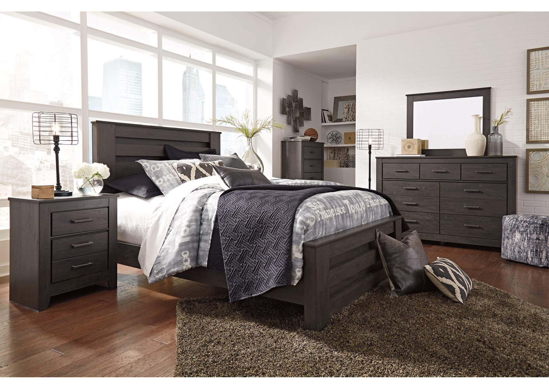 Brinxton Black Queen Panel Bed,Signature Design By Ashley