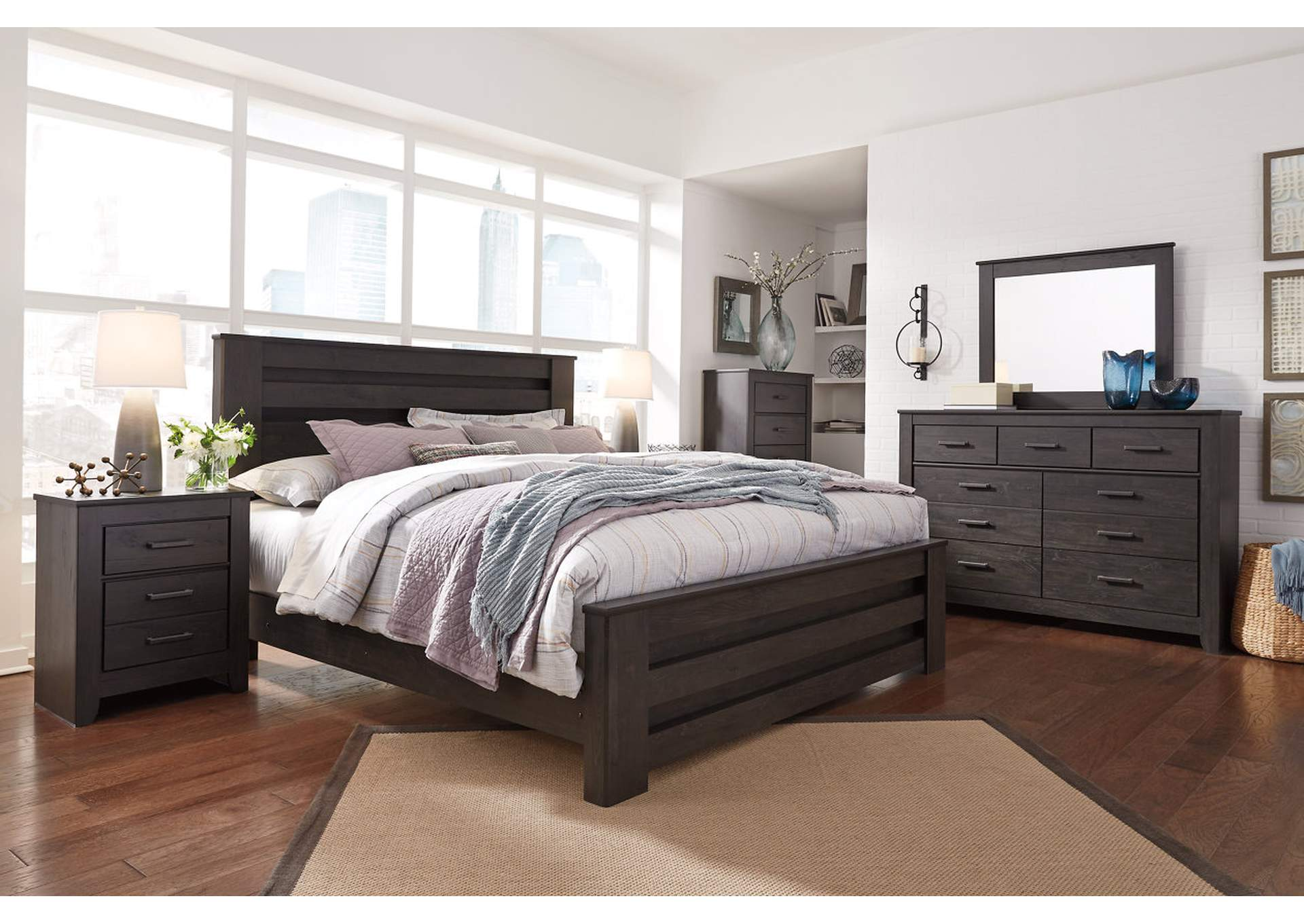 Brinxton Black Full Panel Bed and Dresser w/Mirror,Signature Design By Ashley