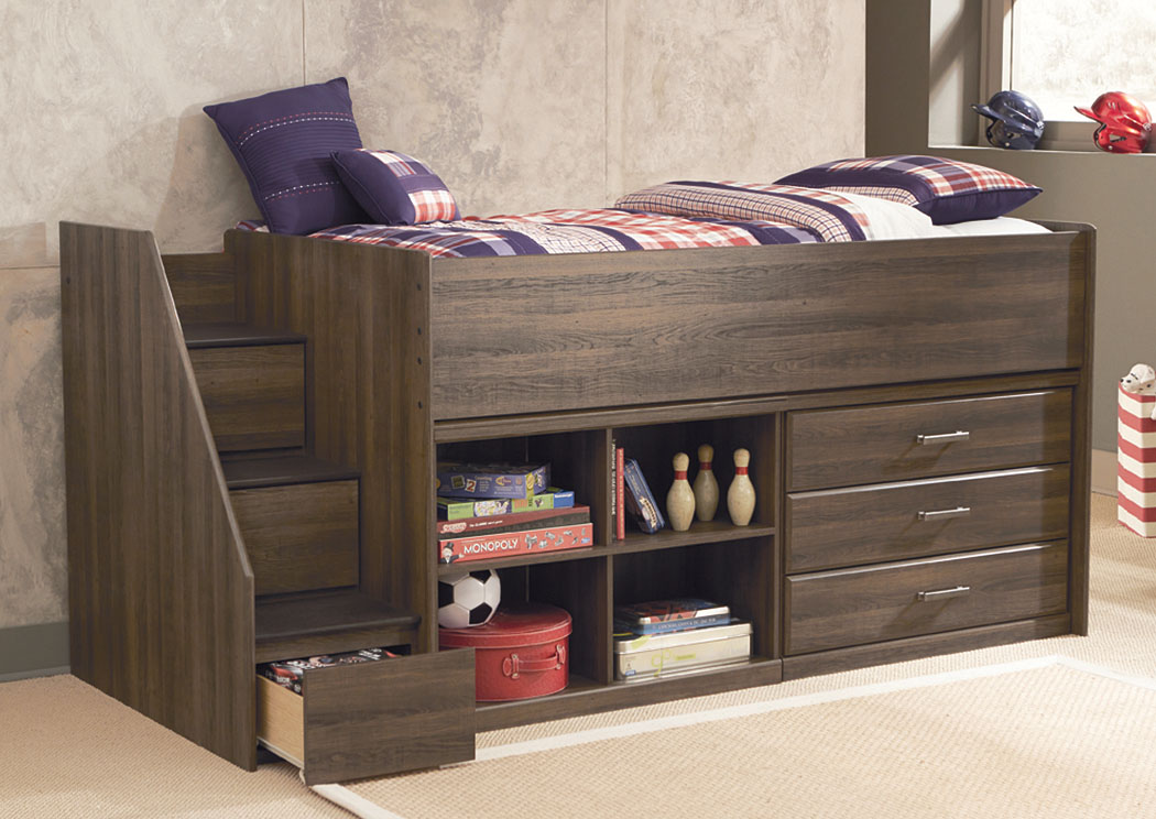 Long Island Discount Furniture Juararo Twin Loft Bed W Left Storage Steps Bookcase Drawers