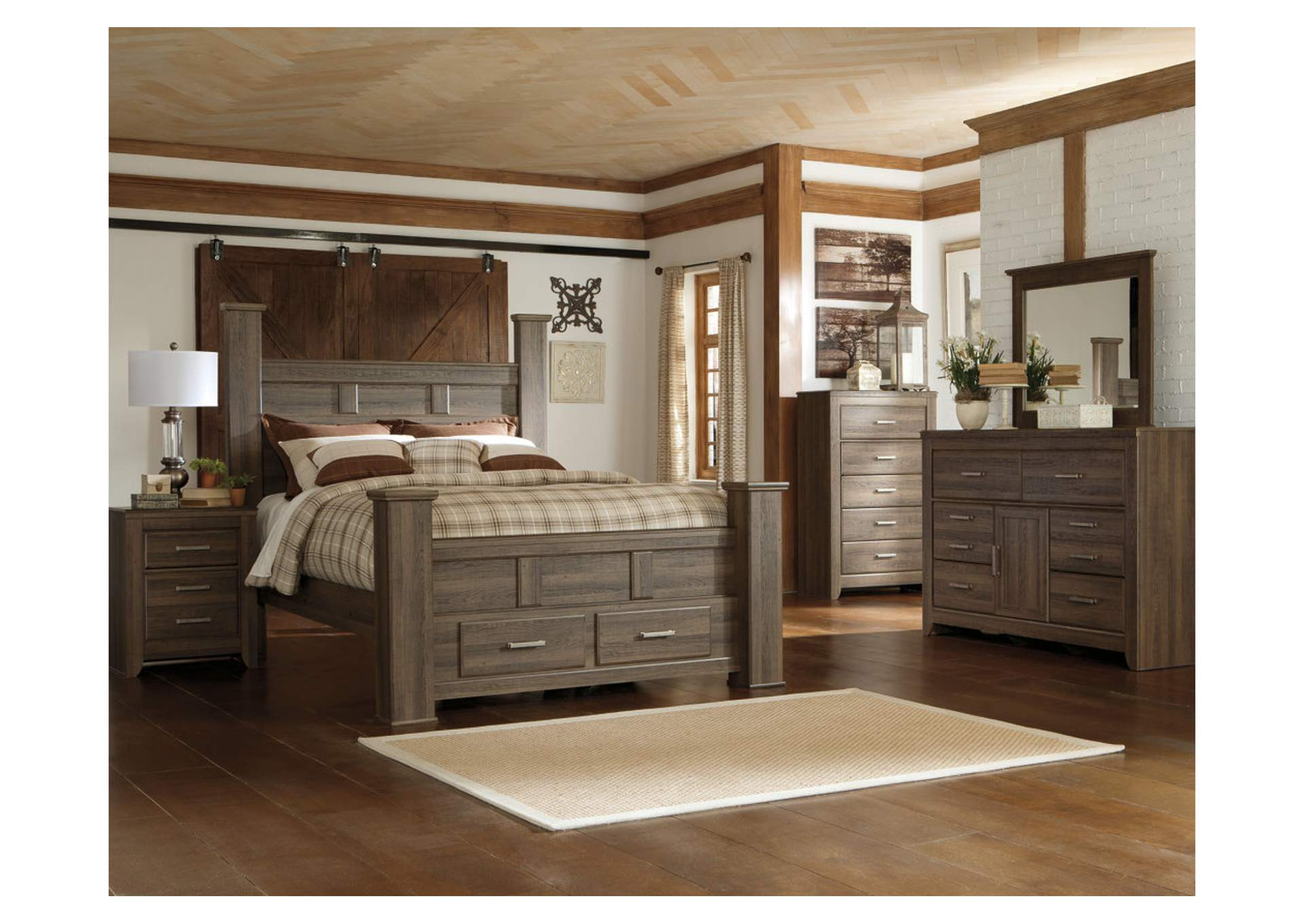 Juararo California King Poster Storage Bed w/Dresser, Mirror, Drawer Chest & Nightstand,Signature Design By Ashley