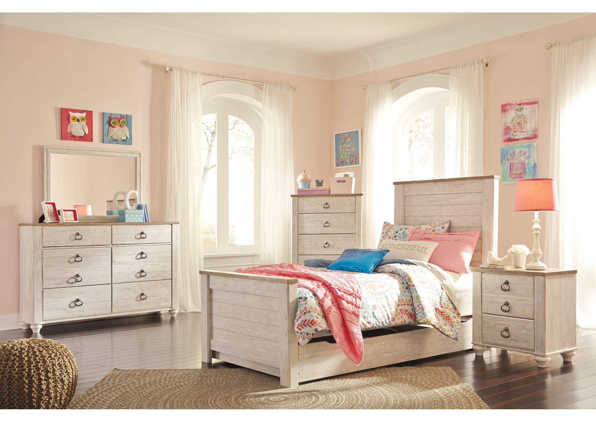 Willowton Whitewash Twin Panel Storage Bed w/Dresser & Mirror,Signature Design By Ashley