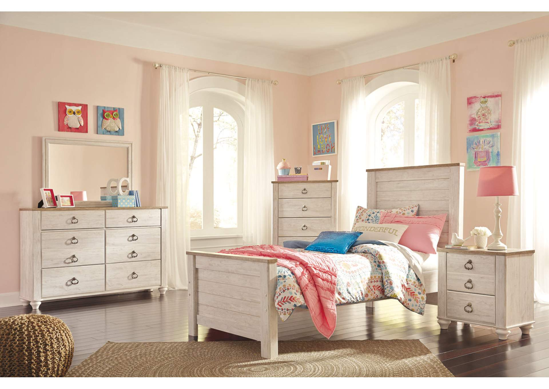 Willowton Whitewash Twin Panel Bed w/Dresser & Mirror,Signature Design By Ashley
