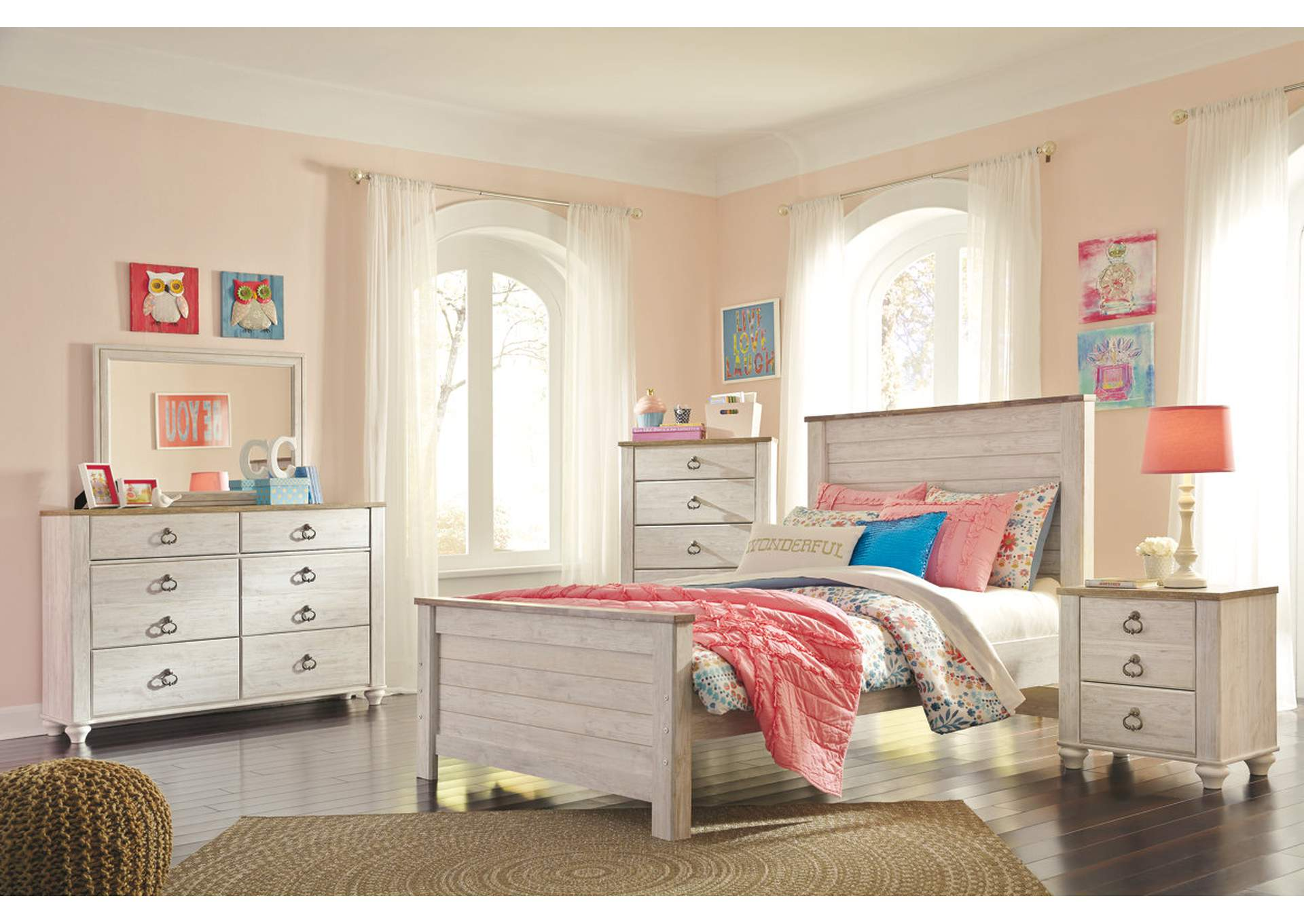 Willowton Whitewash Full Panel Bed w/Dresser & Mirror,Signature Design By Ashley