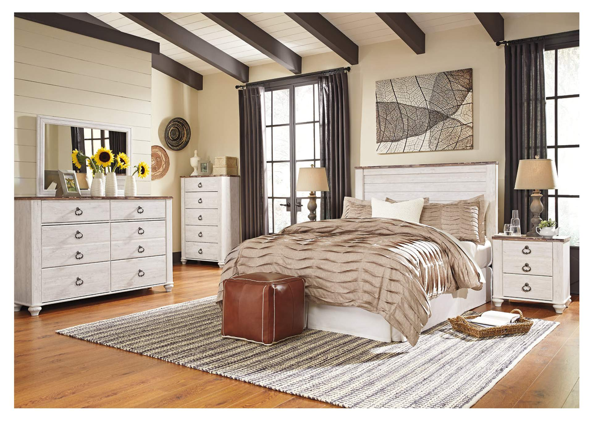 Willowton White Queen Panel Bed,Direct To Consumer Express