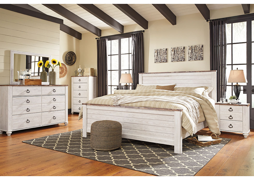 Willowton Whitewash California King Panel Bed w/Dresser, Mirror & Drawer Chest,Signature Design By Ashley
