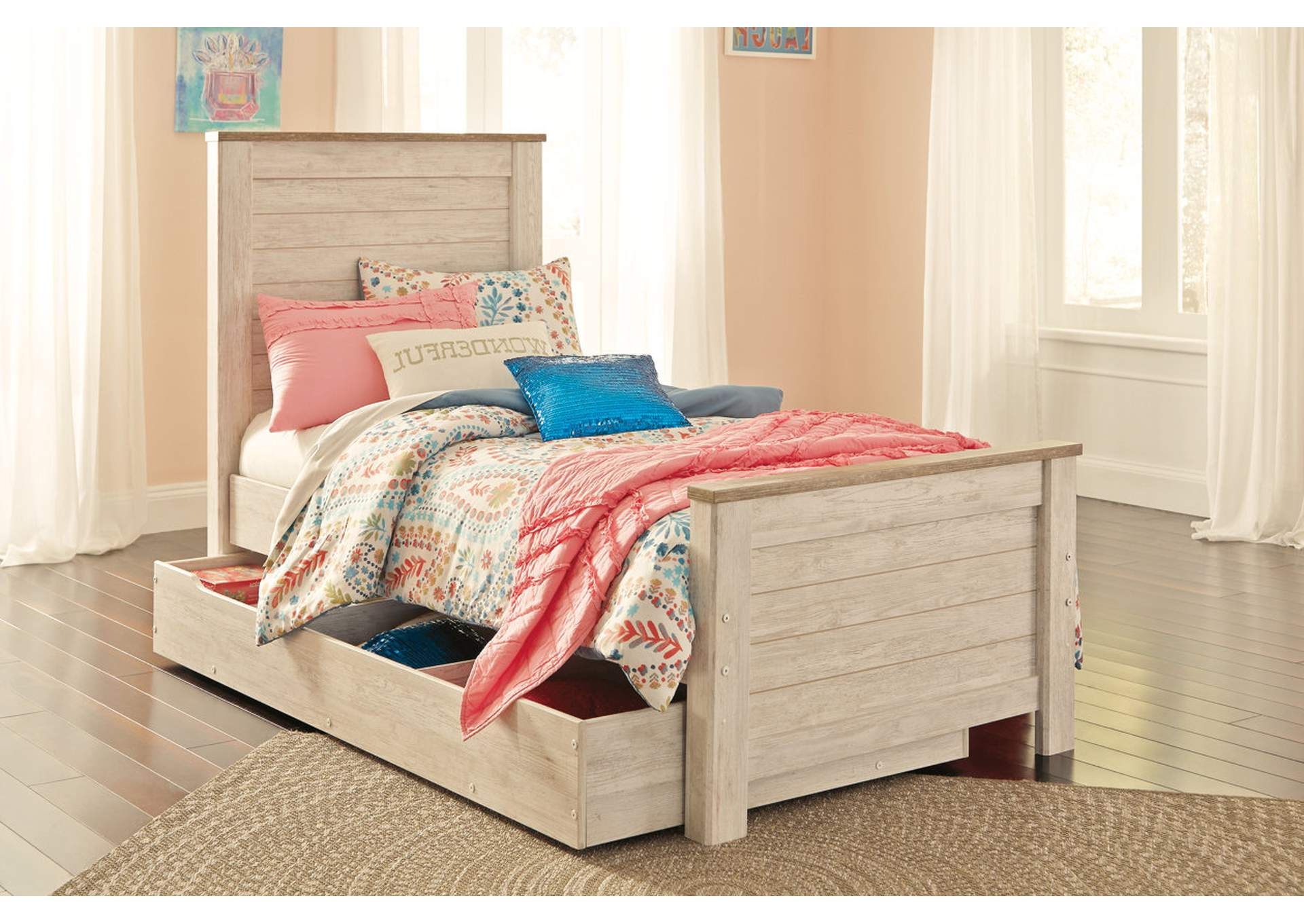 Willowton Whitewash Twin Panel Storage Bed,Signature Design By Ashley