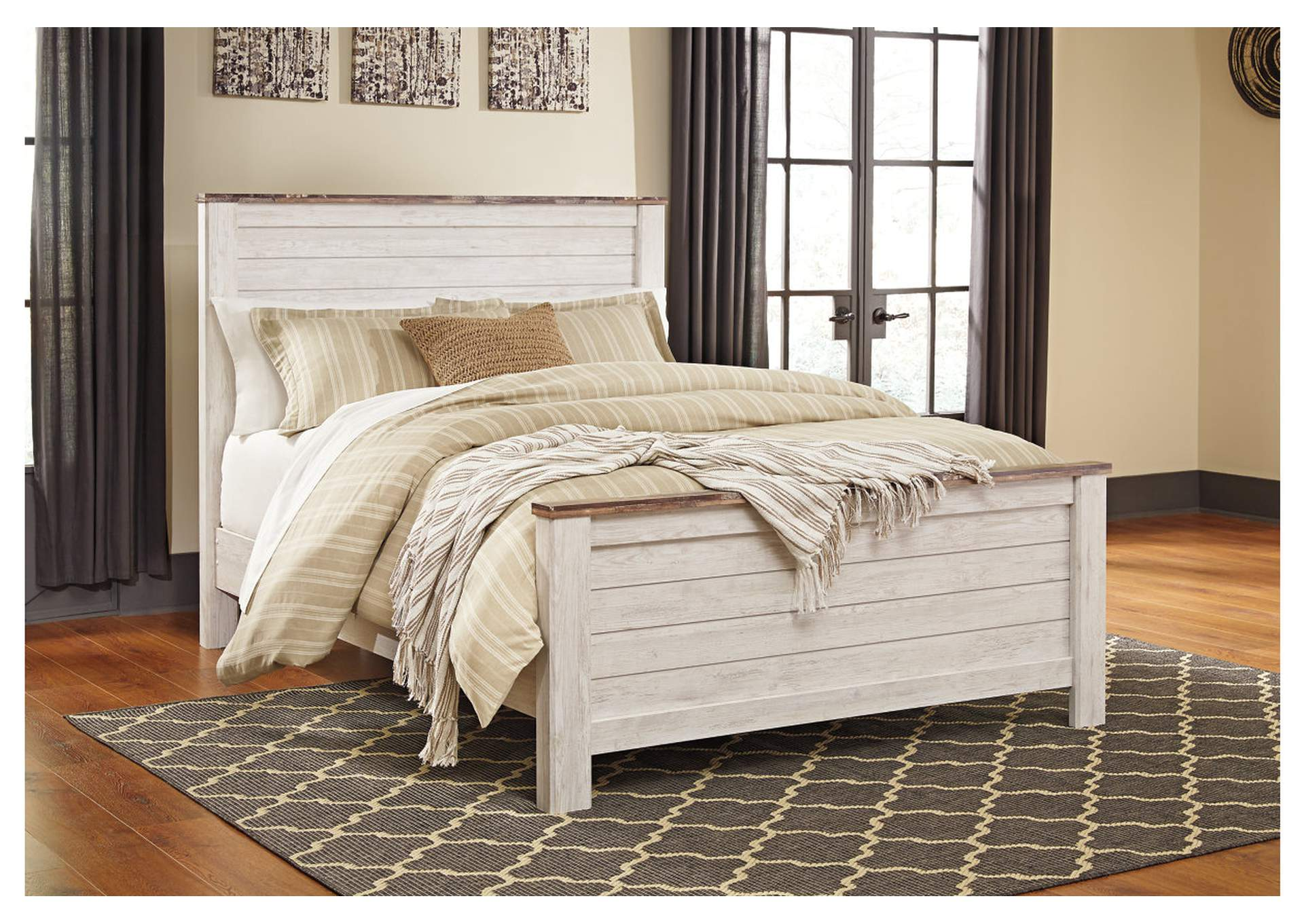 Willowton Whitewash Queen Panel Bed,Signature Design By Ashley