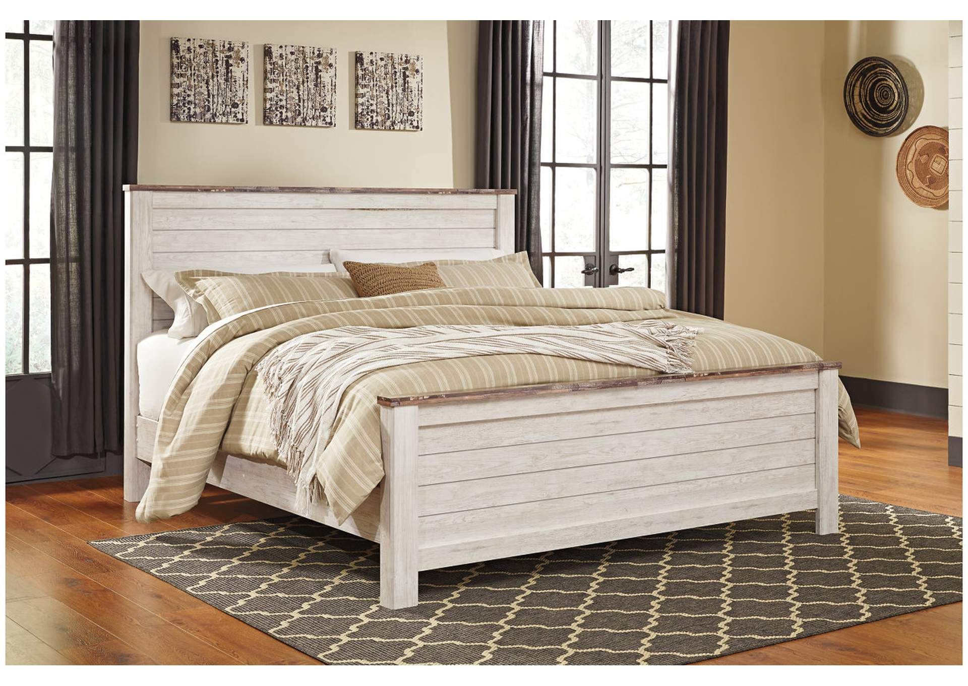 Willowton Whitewash King Panel Bed,Signature Design By Ashley