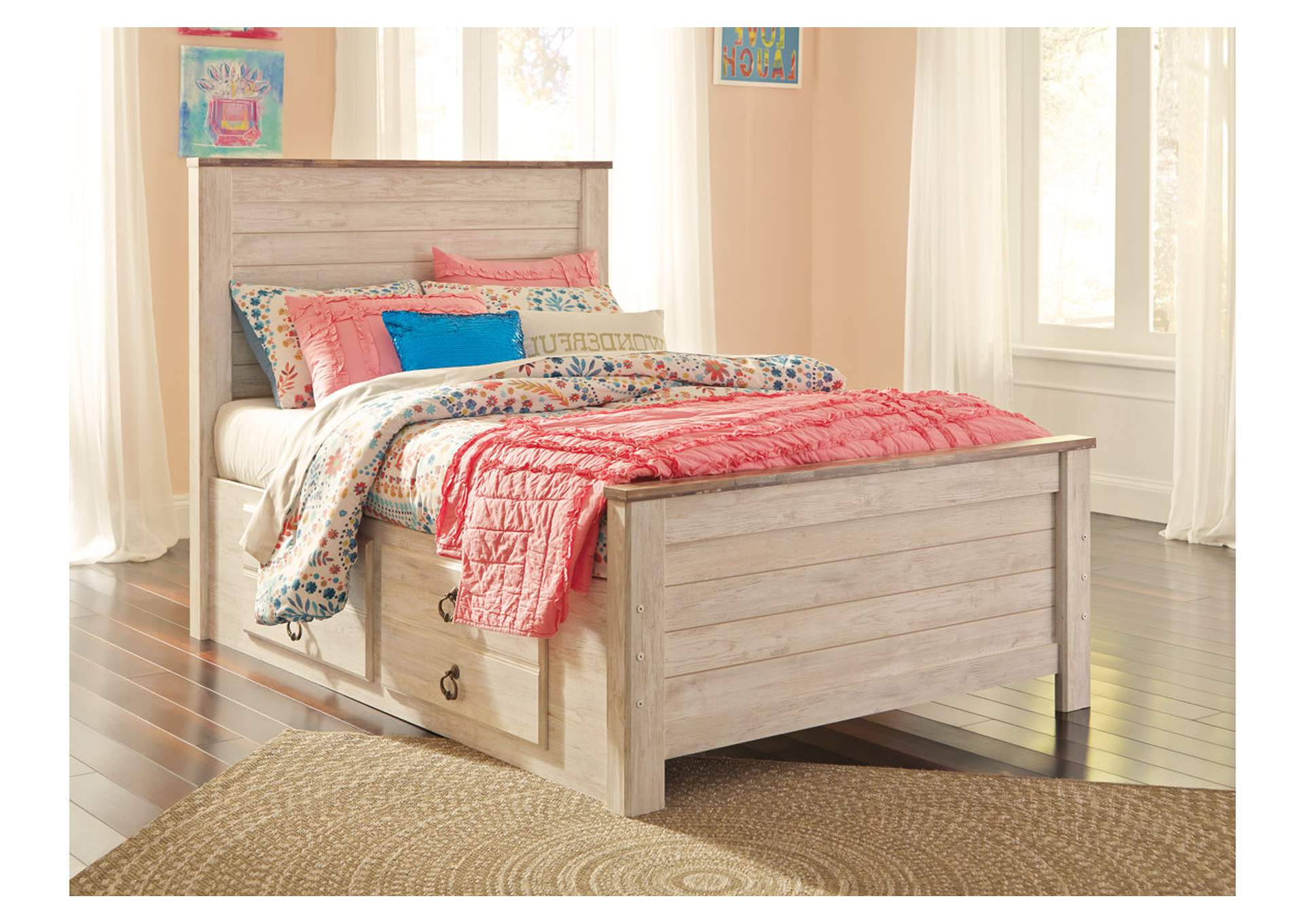Willowton Whitewash Full Storage Bed,Signature Design By Ashley