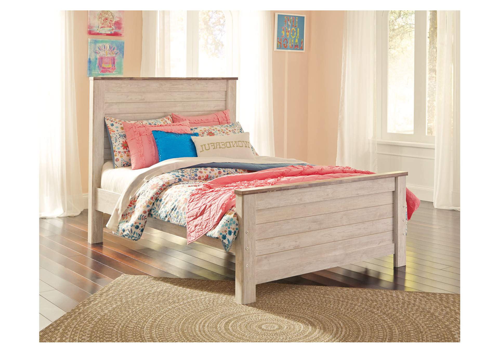 Willowton Whitewash Full Panel Bed,48 Hour Quick Ship