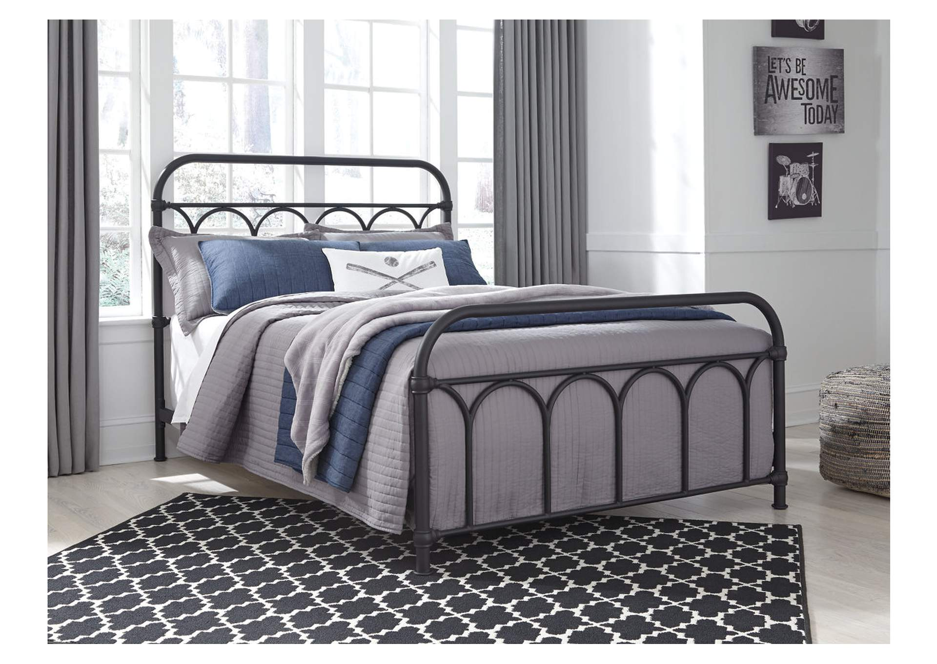 Nashburg Black Full Metal Bed,Signature Design By Ashley