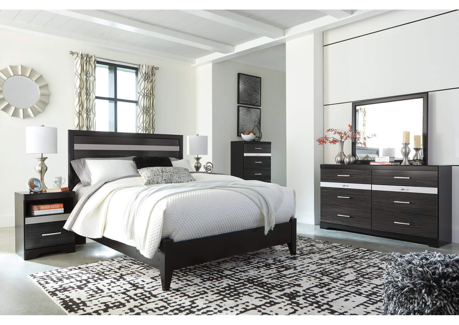 Starberry Black Queen Panel Bed and Dresser w/Mirror,Signature Design By Ashley