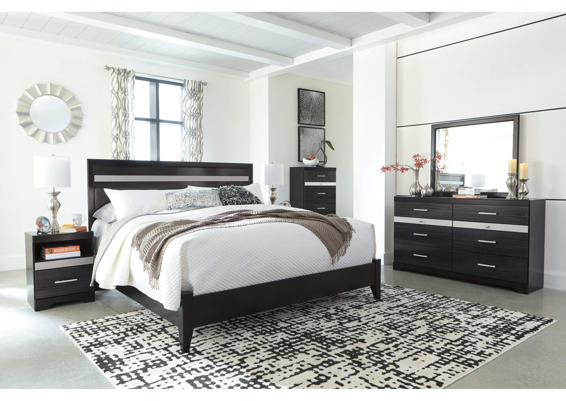 Starberry Black King Panel Bed and Dresser w/Mirror,Signature Design By Ashley