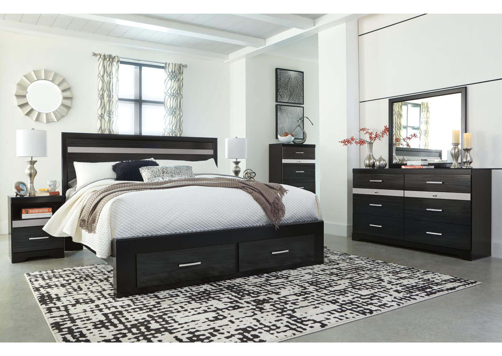 Starberry Black King Storage Bed and Dresser w/Mirror,Signature Design By Ashley