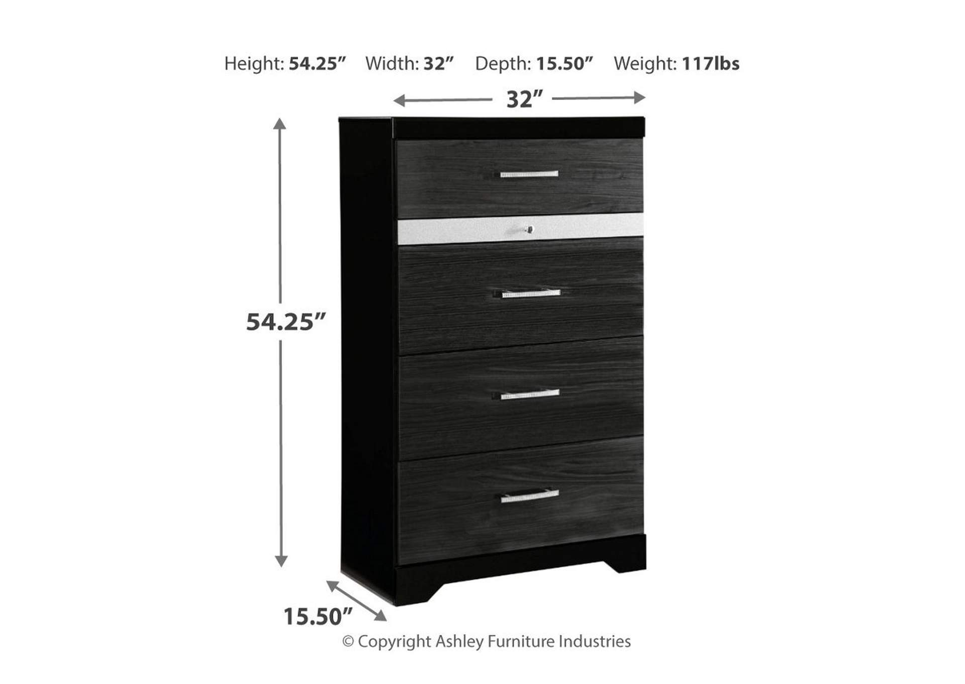 Starberry Black Five Drawer Chest,Signature Design By Ashley