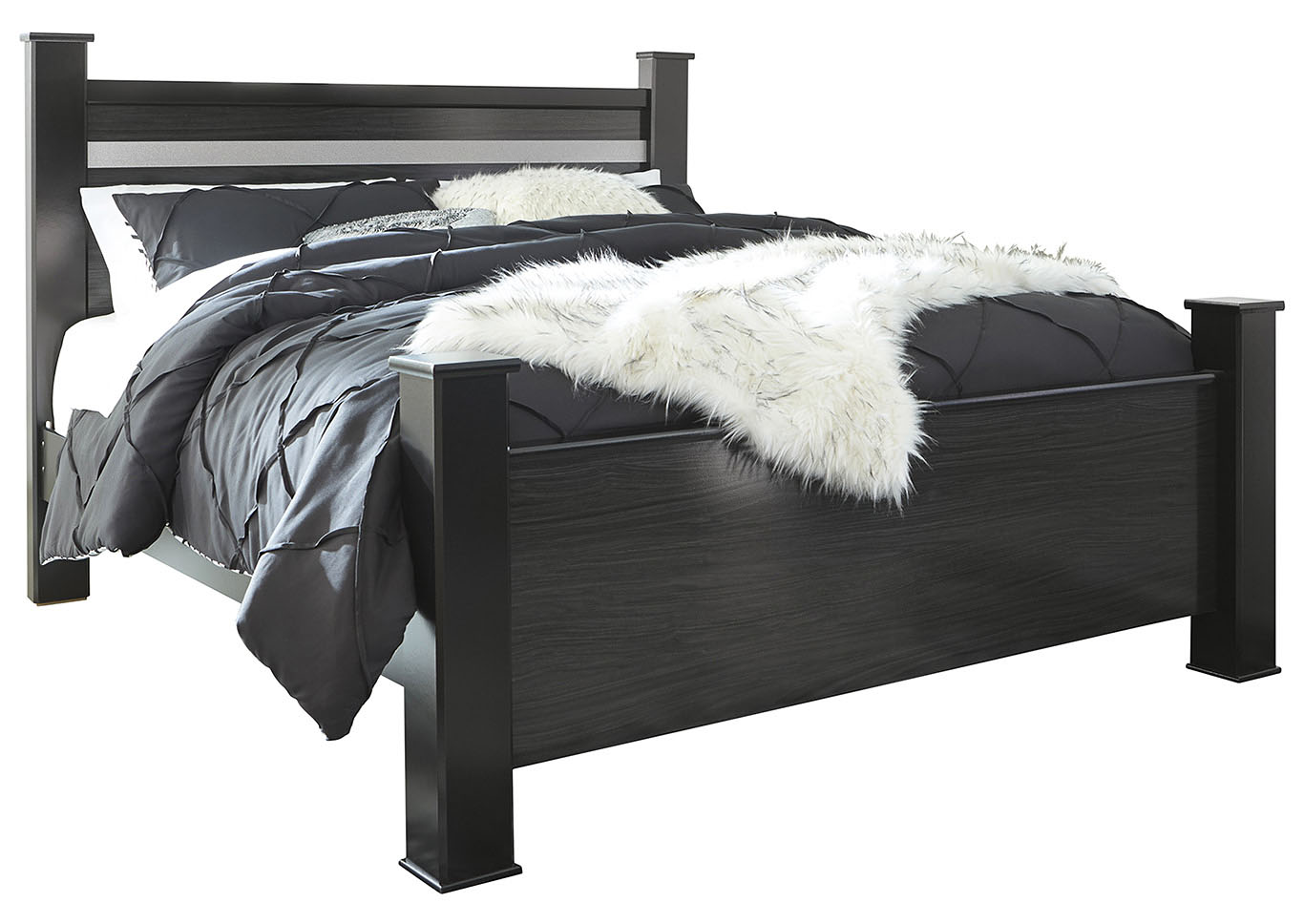 Starberry Black King Poster Bed and Dresser w/Mirror,Signature Design By Ashley