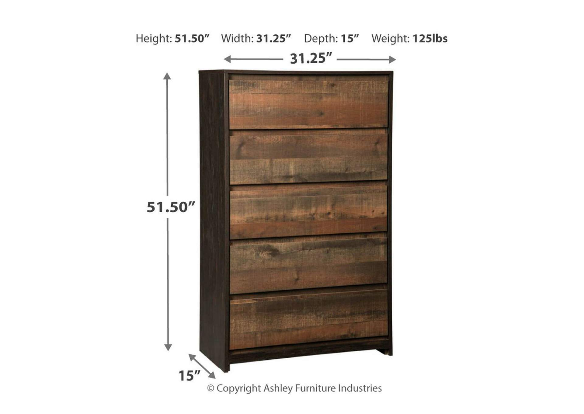 Windlore Dark Brown Five Drawer Chest,Signature Design By Ashley