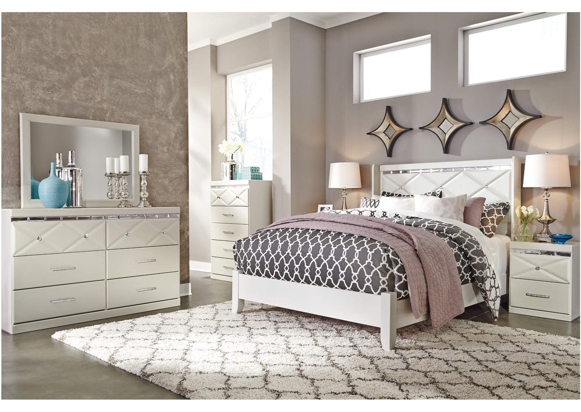 Dreamur Champagne Queen Panel Bed w/Dresser, Mirror, Drawer Chest & Nightstand,Signature Design By Ashley