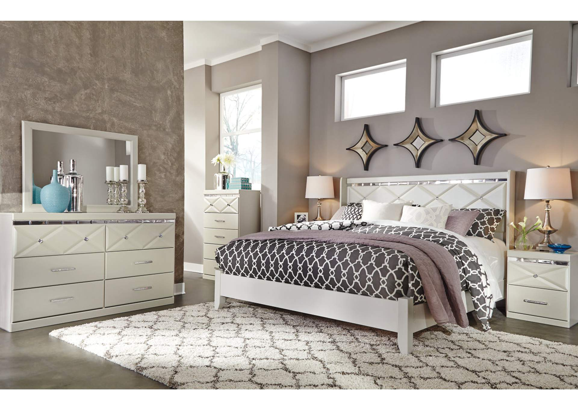 Dreamur Champagne King Panel Bed w/Dresser, Mirror, Drawer Chest & Nightstand,Signature Design By Ashley