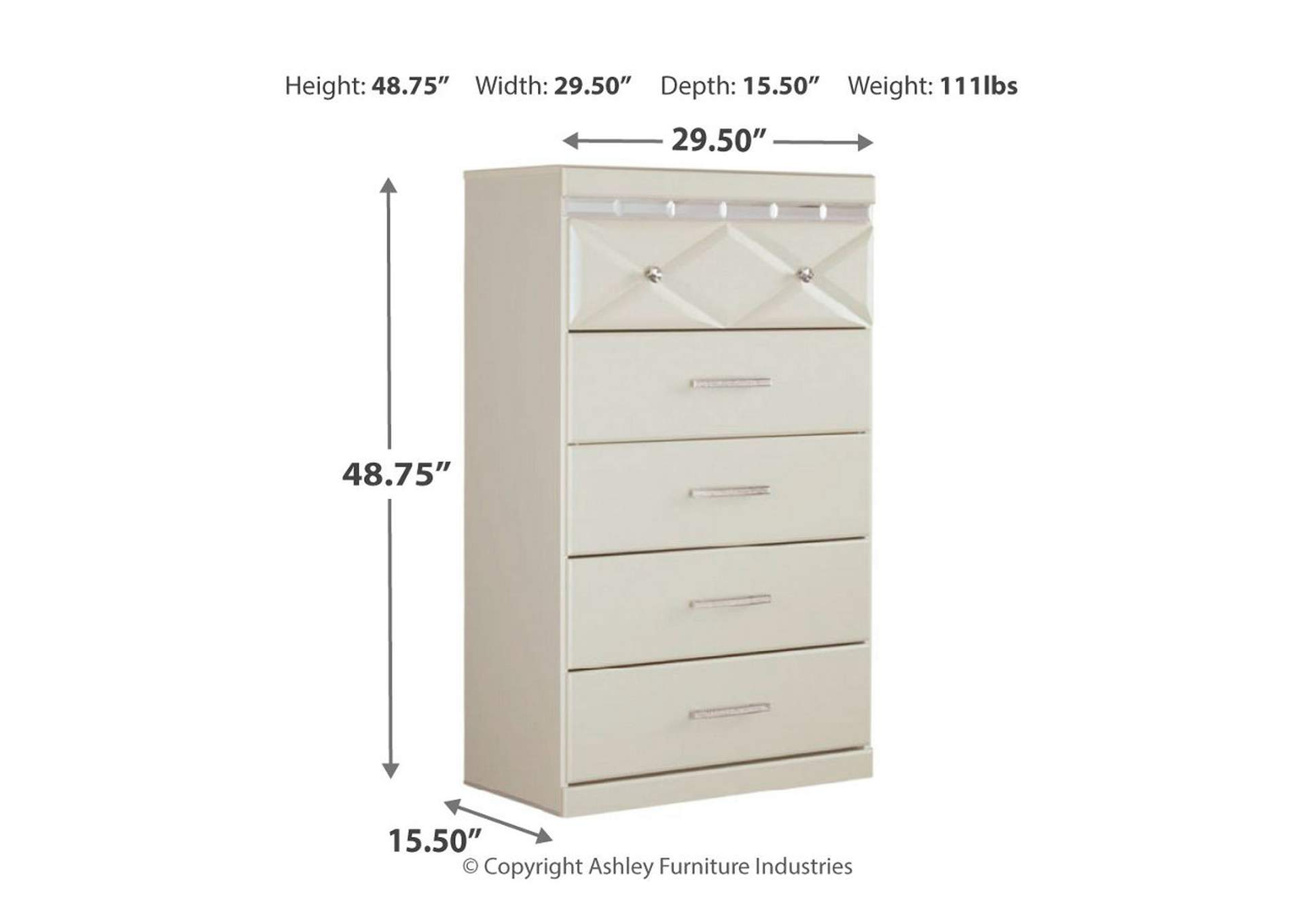 Dreamur Champagne Five Drawer Chest,Signature Design By Ashley