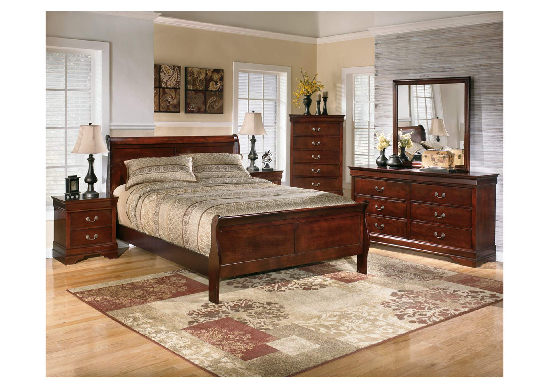 Alisdair Queen Sleigh Bed w/Dresser, Mirror, Drawer Chest & 2 Nightstands,Signature Design By Ashley
