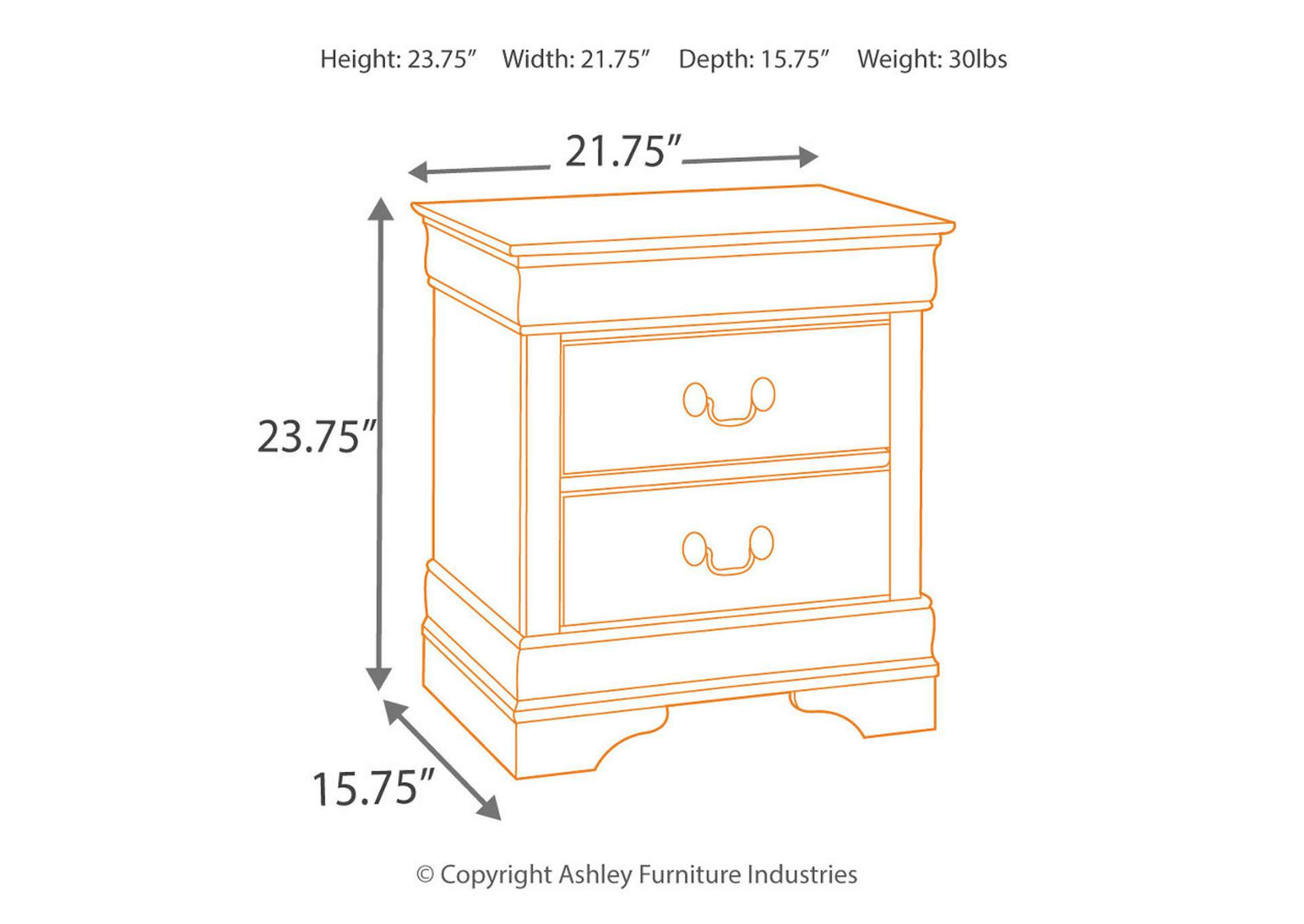 Alisdair Two-Drawer Night Stand,Signature Design By Ashley