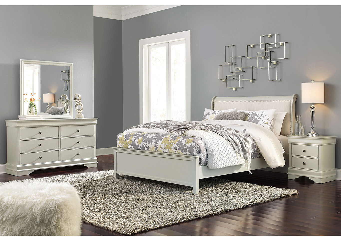 Jorstad Gray Upholstered Sleigh California King Bed w/Dresser & Mirror,Signature Design By Ashley