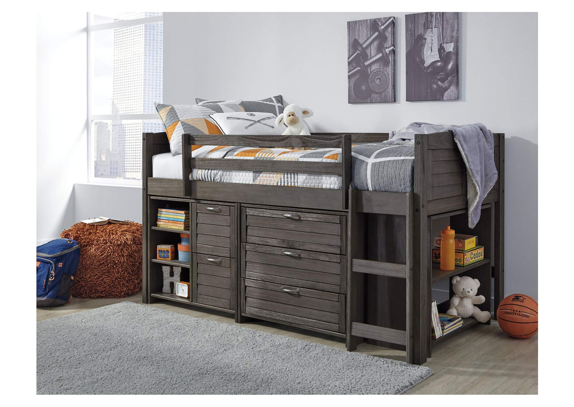 Caitbrook Gray Twin Loft Bed w/Storage,Signature Design By Ashley