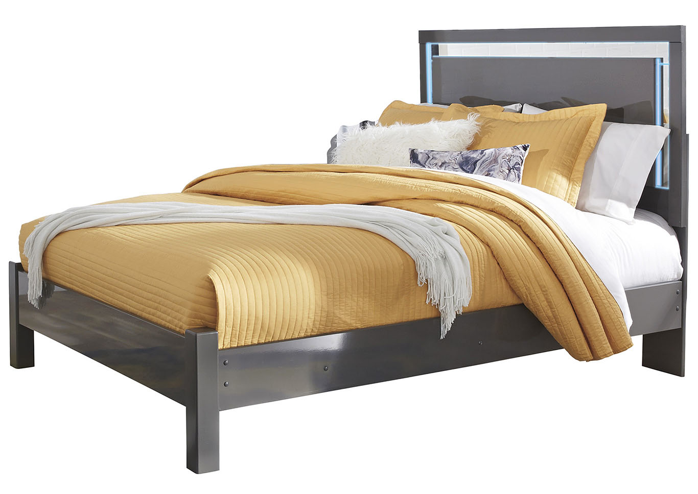 Steelson Gray Queen LED Panel Bed,Signature Design By Ashley