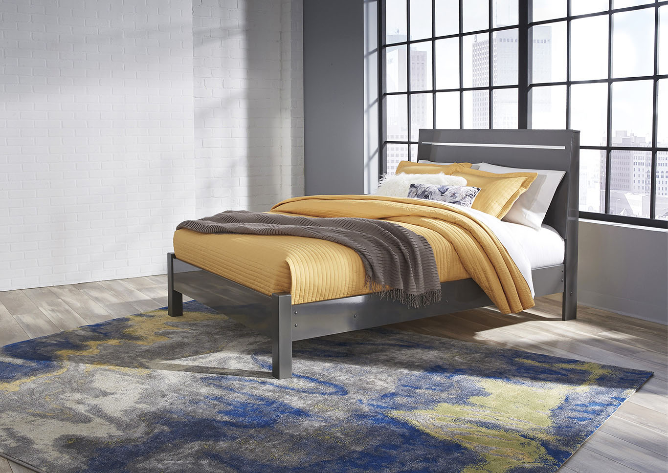 Steelson Gray Queen Panel Bed,Signature Design By Ashley