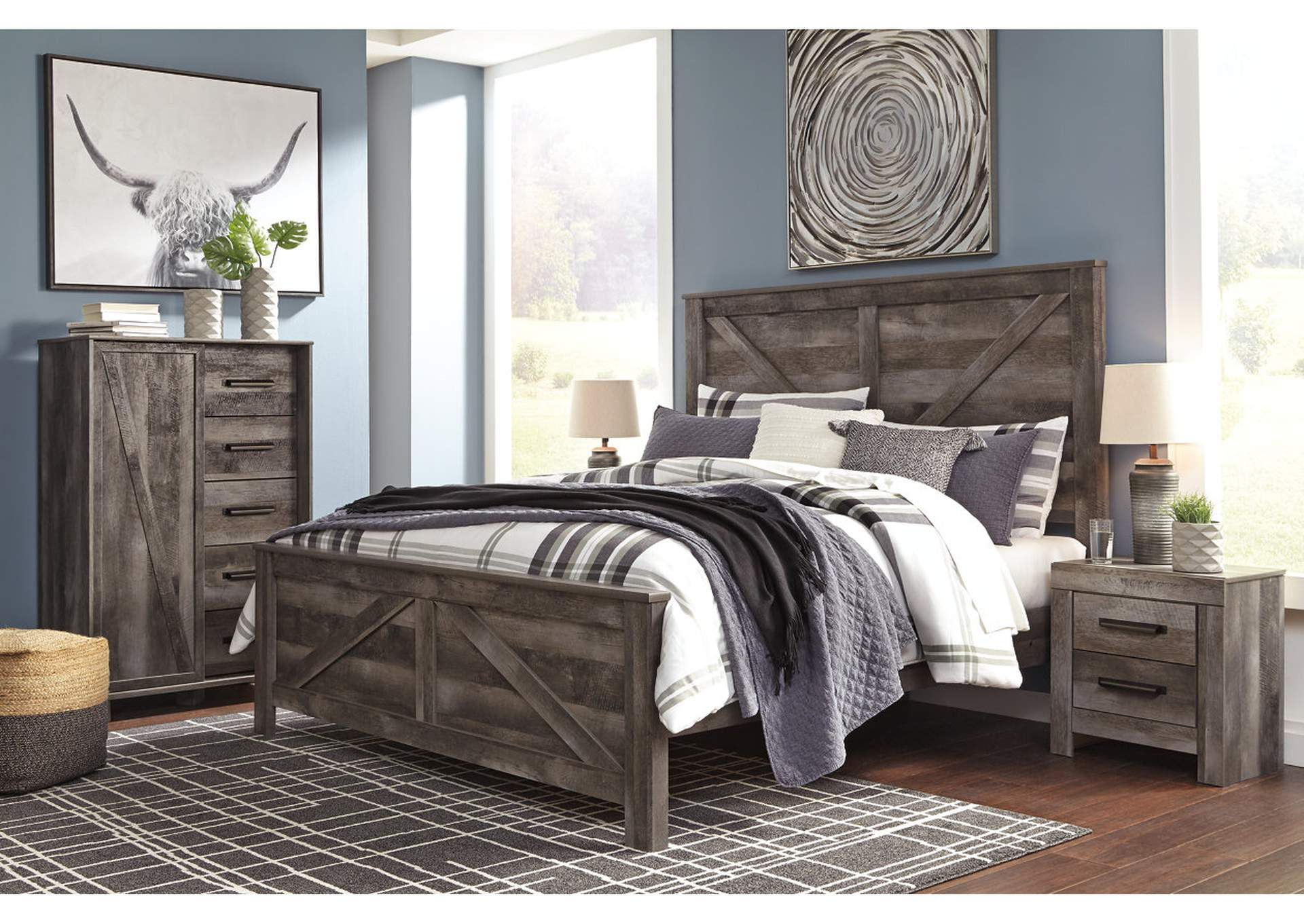 Wynnlow Gray King Crossbuck Panel Bed,Signature Design By Ashley