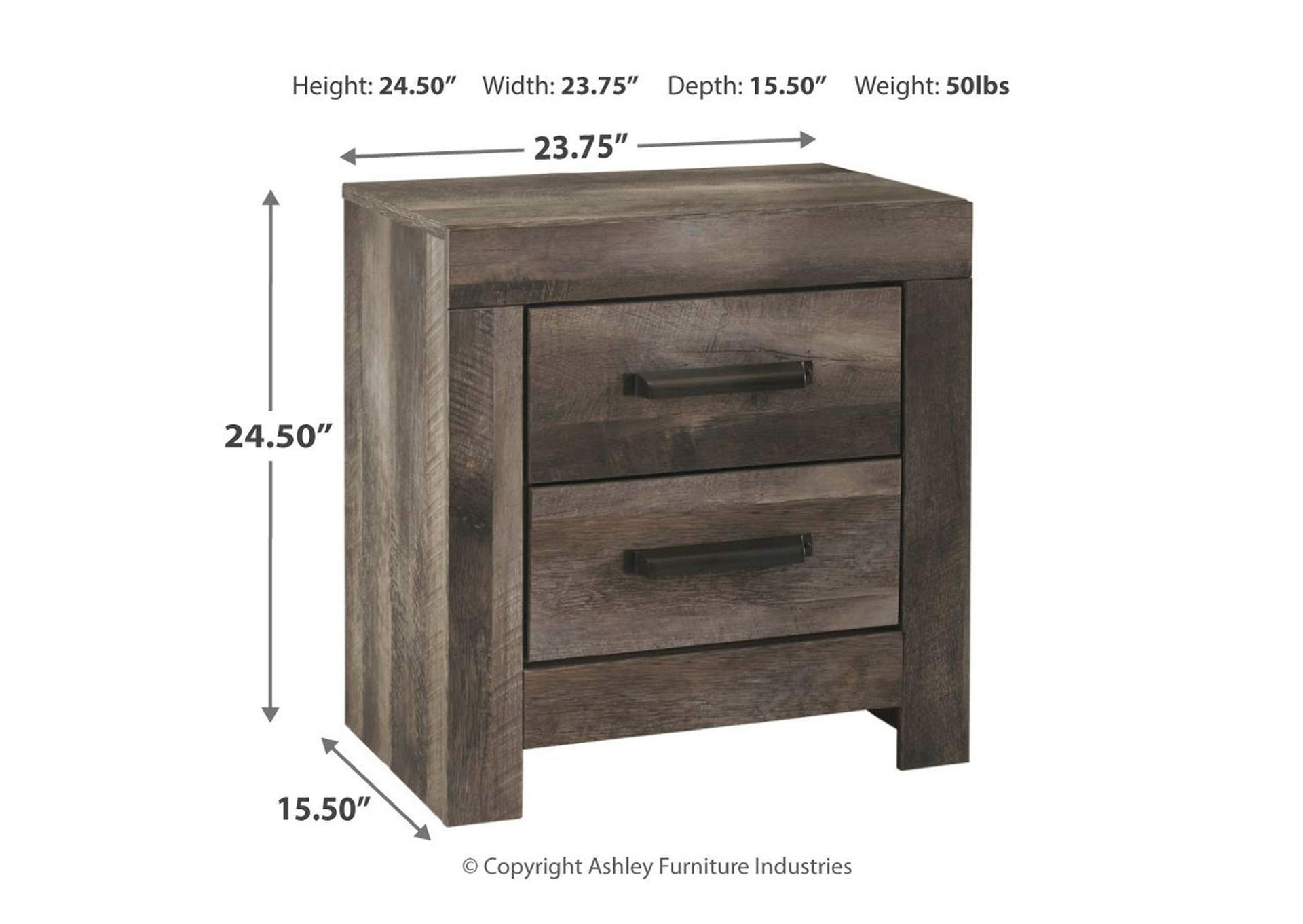 Wynnlow Gray Rustic Two Drawer Nightstand,48 Hour Quick Ship