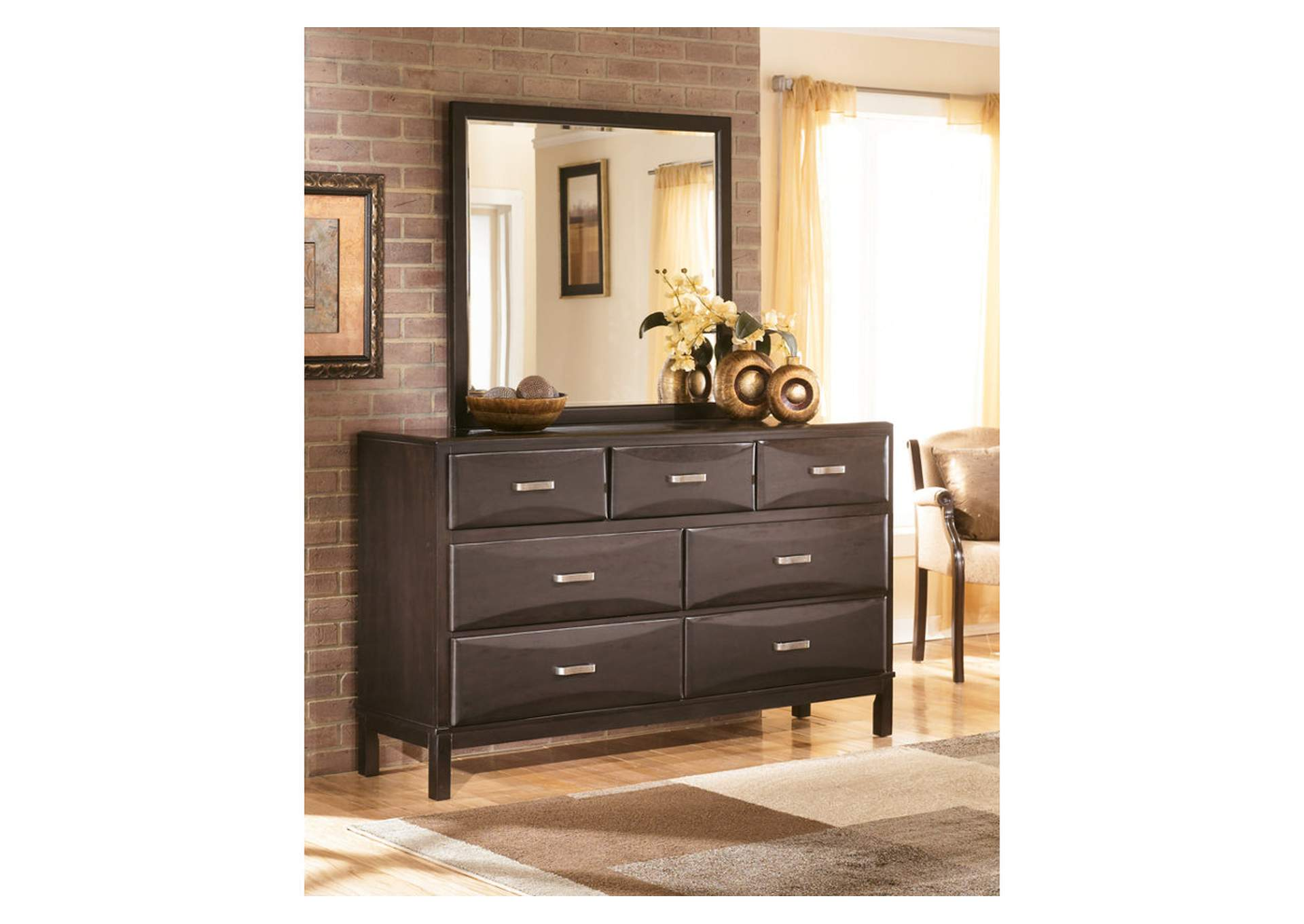 Transit Damaged Freight Kira Black Bedroom Dresser w/Mirror