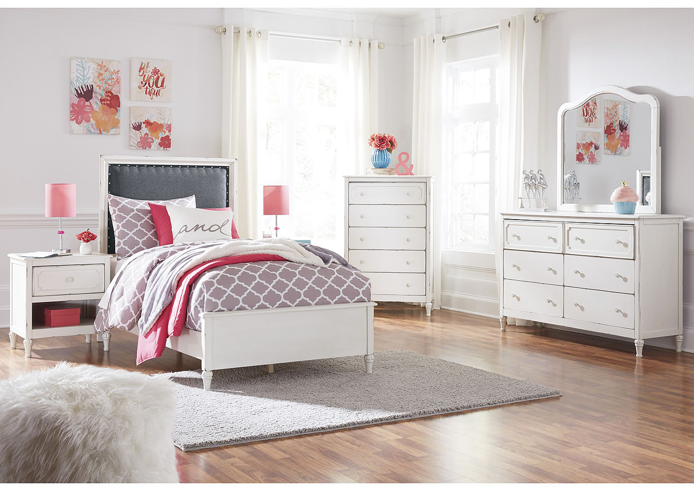 Faelene Chipped White Twin Upholstered Panel Bed and Dresser w/Mirror,Signature Design By Ashley
