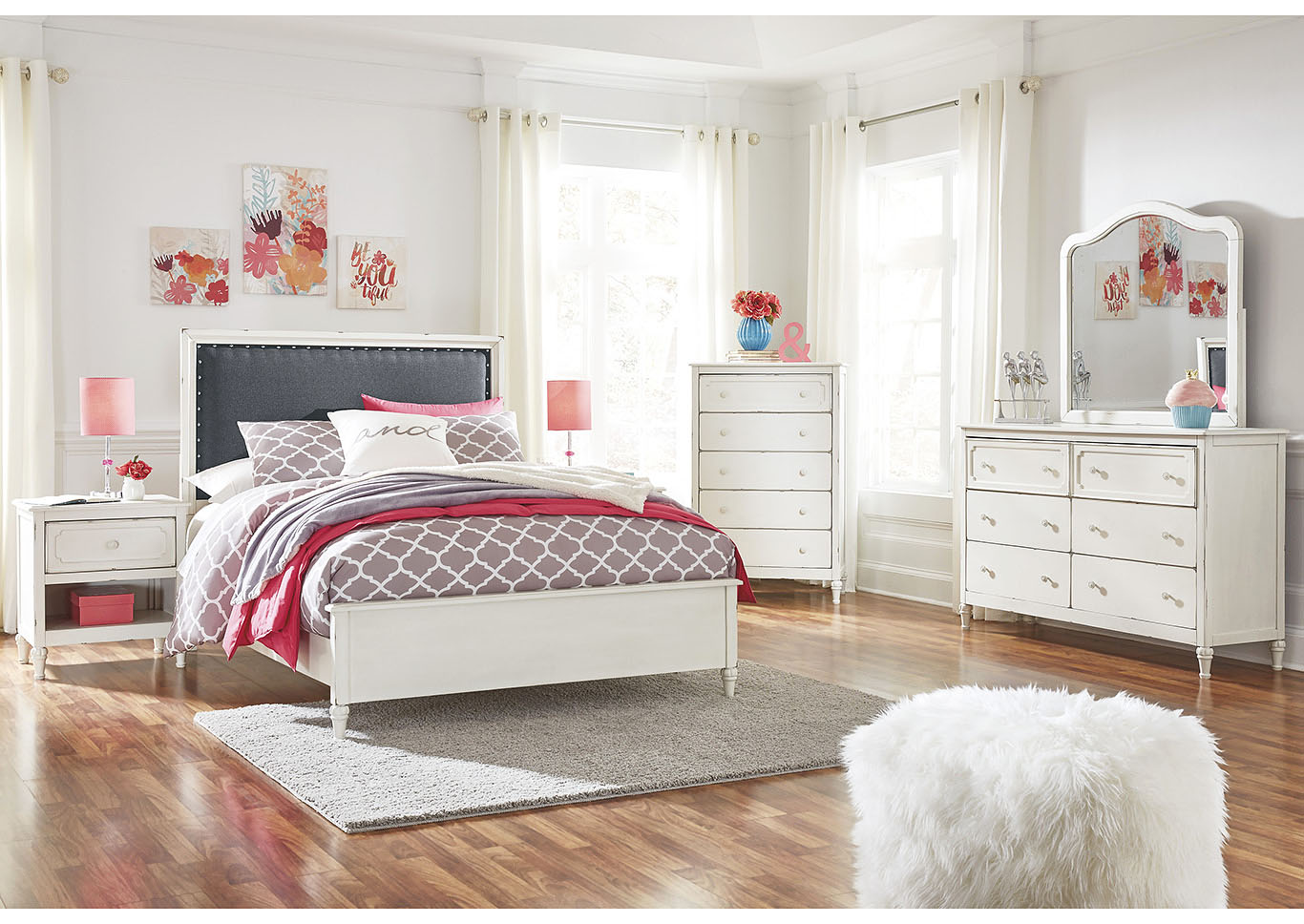 Faelene Chipped White Full Upholstered Panel Bed and Dresser w/Mirror,Signature Design By Ashley