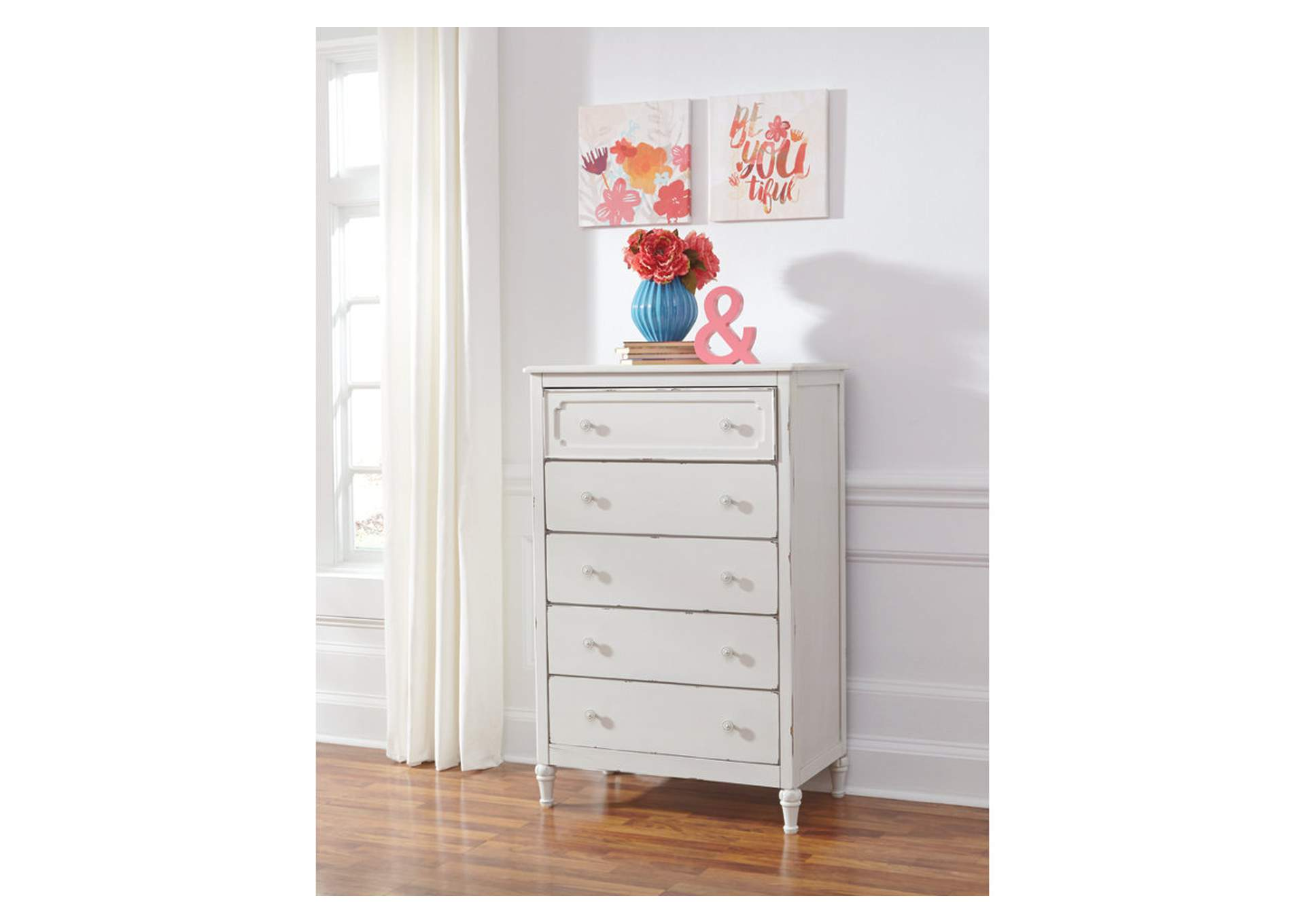 Faelene Chipped White Five Drawer Chest,Signature Design By Ashley