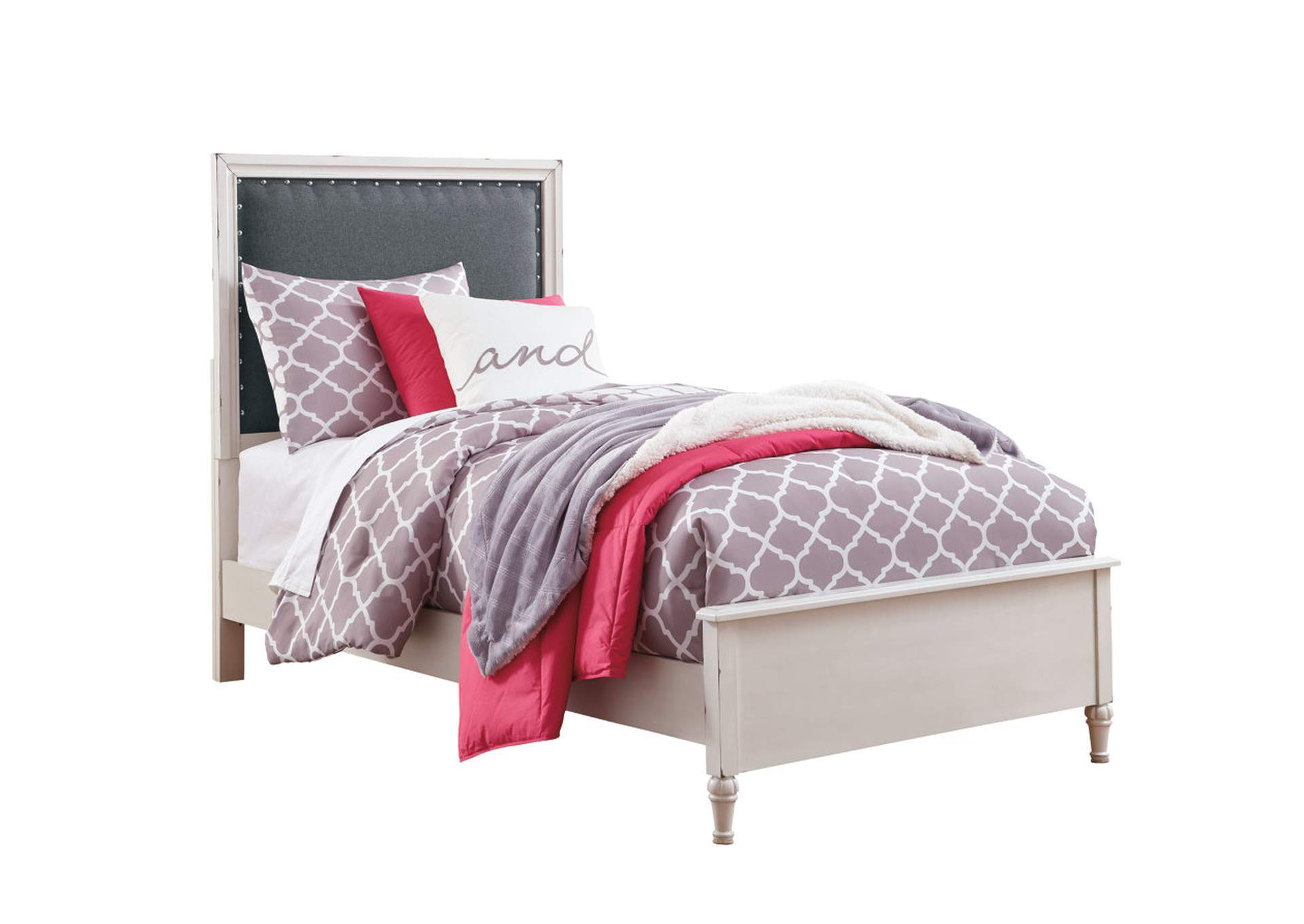 Faelene Chipped White Twin Upholstered Panel Bed,Signature Design By Ashley