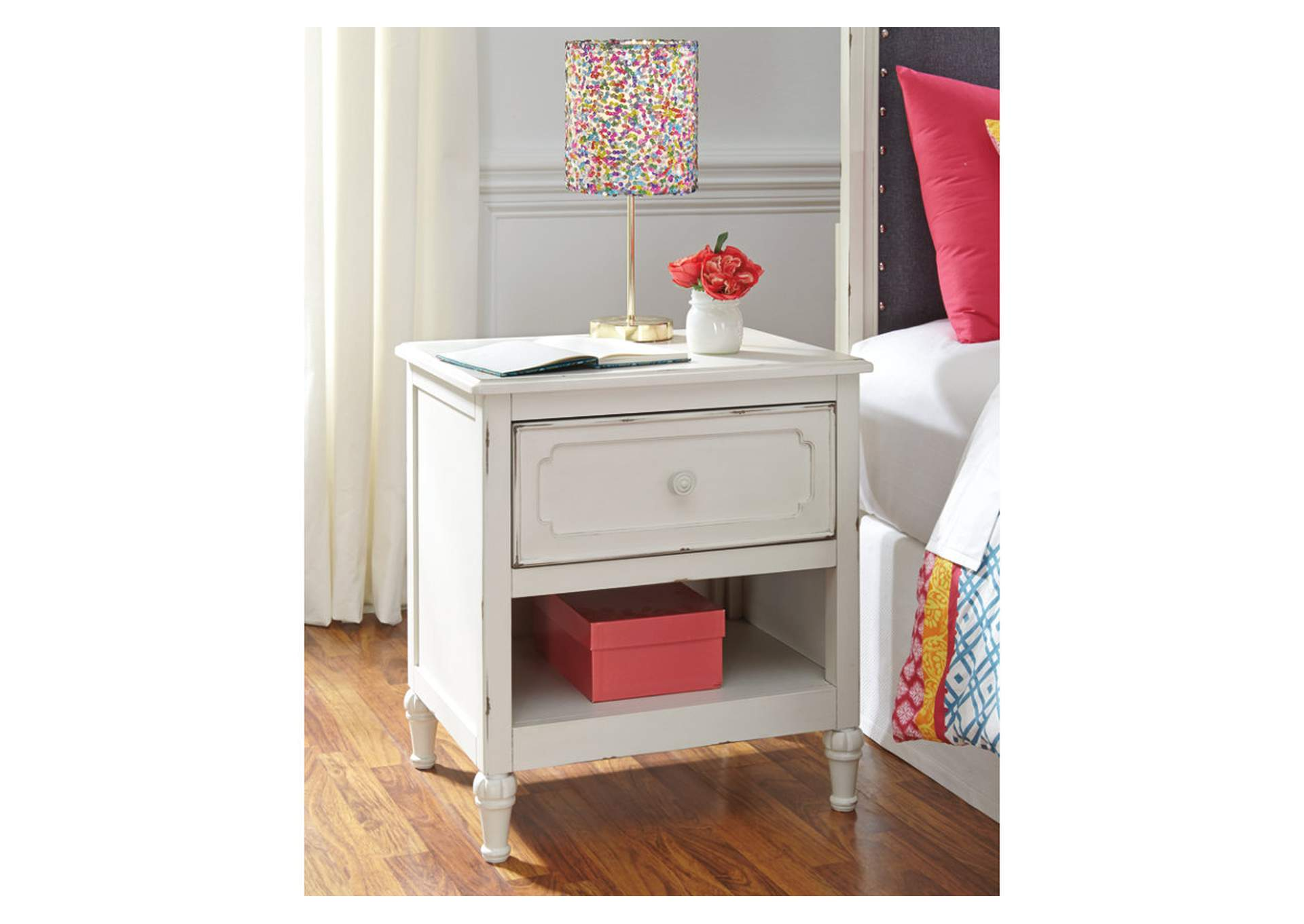 Faelene Chipped White One Drawer Night Stand,Signature Design By Ashley